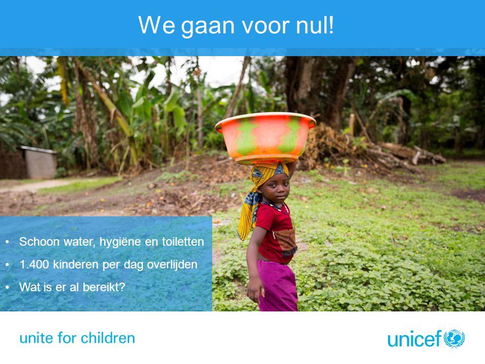 We gaan voor nul! Schoon water, hygiëne en toiletten 1.400 kinderen per dag overlijden Wat is er al bereikt?