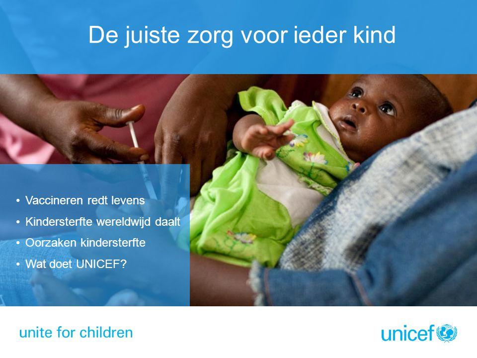 De juiste zorg voor ieder kind Vaccineren redt levens Kindersterfte wereldwijd daalt Oorzaken kindersterfte Wat doet UNICEF?