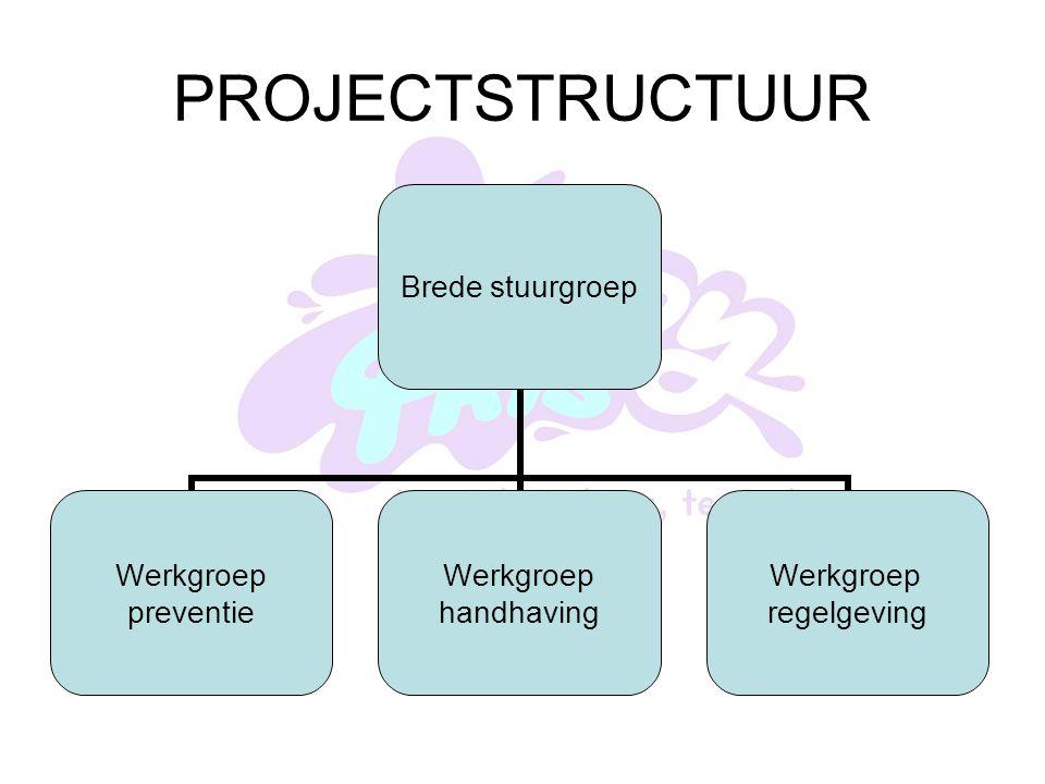 PROJECTSTRUCTUUR Brede stuurgroep Werkgroep preventie Werkgroep handhaving Werkgroep regelgeving