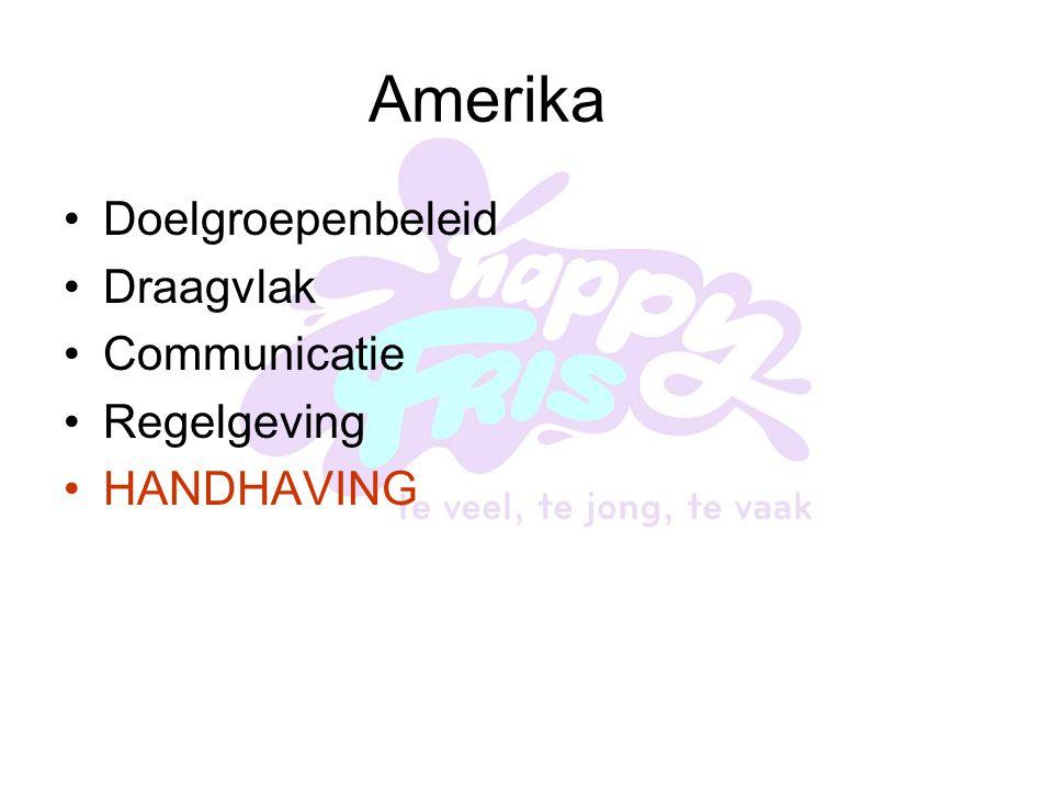 Amerika Doelgroepenbeleid Draagvlak Communicatie Regelgeving HANDHAVING