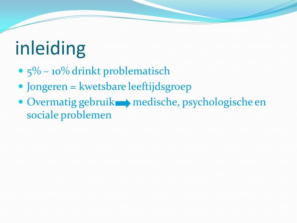 inleiding 5% – 10% drinkt problematisch Jongeren = kwetsbare leeftijdsgroep Overmatig gebruik medische, psychologische en sociale problemen