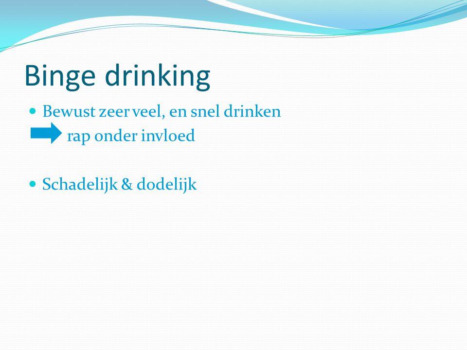Binge drinking Bewust zeer veel, en snel drinken rap onder invloed Schadelijk & dodelijk