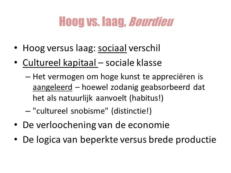 Hoog versus laag: sociaal verschil Cultureel kapitaal – sociale klasse – Het vermogen om hoge kunst te appreciëren is aangeleerd – hoewel zodanig geab