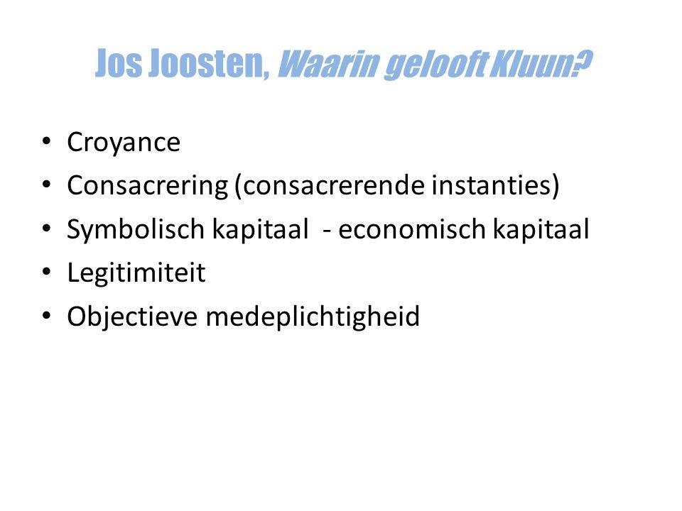 Croyance Consacrering (consacrerende instanties) Symbolisch kapitaal - economisch kapitaal Legitimiteit Objectieve medeplichtigheid Jos Joosten, Waari