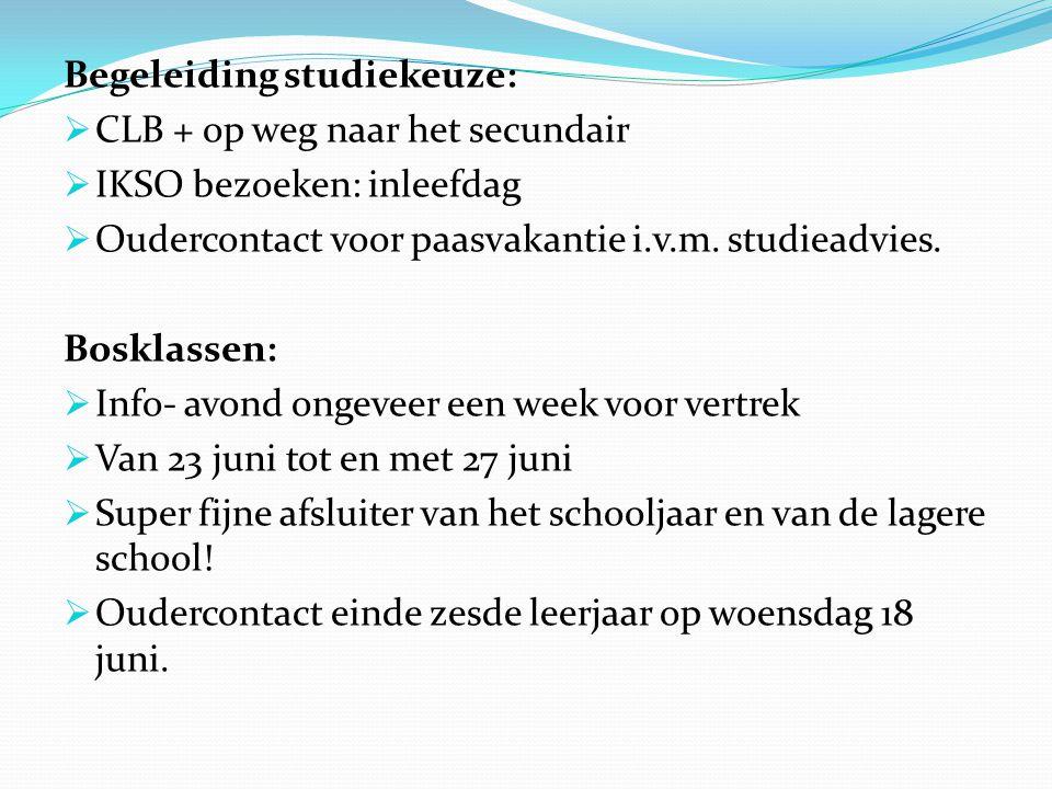 Begeleiding studiekeuze:  CLB + op weg naar het secundair  IKSO bezoeken: inleefdag  Oudercontact voor paasvakantie i.v.m. studieadvies. Bosklassen