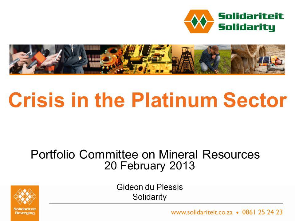 Titel van aanbieding – Subtitel van aanbieding Naam van aanbieder Plek, Datum Crisis in the Platinum Sector Portfolio Committee on Mineral Resources 20 February 2013 Gideon du Plessis Solidarity