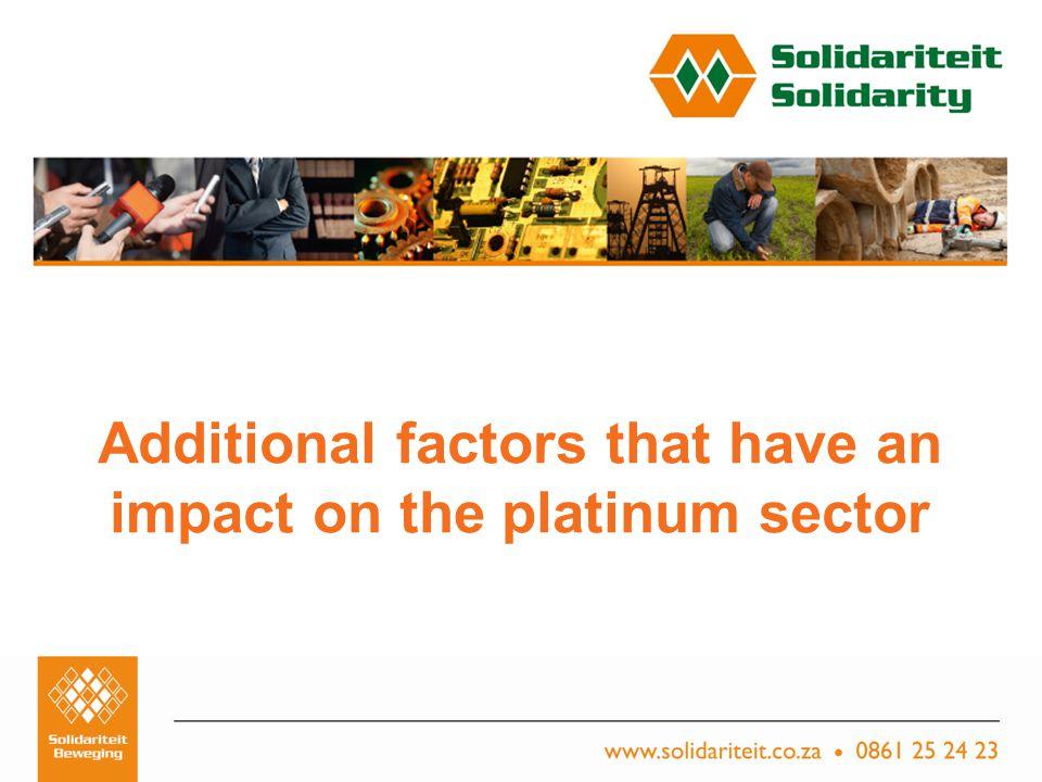 Titel van aanbieding – Subtitel van aanbieding Naam van aanbieder Plek, Datum Additional factors that have an impact on the platinum sector