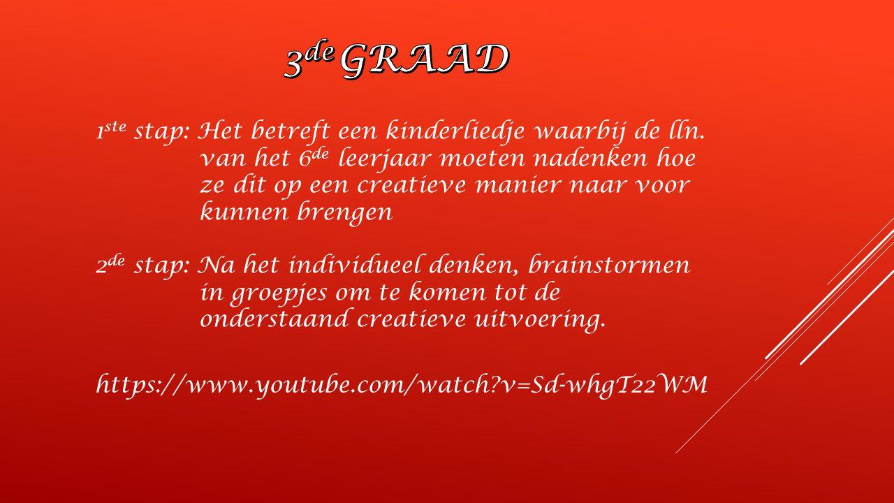 https://www.youtube.com/watch?v=Sd-whgT22WM 1 ste stap: Het betreft een kinderliedje waarbij de lln.