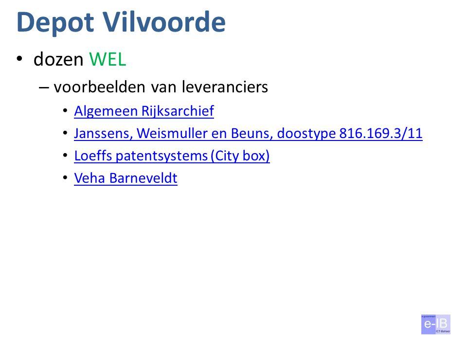 Depot Vilvoorde dozen WEL – voorbeelden van leveranciers Algemeen Rijksarchief Janssens, Weismuller en Beuns, doostype 816.169.3/11 Loeffs patentsystems (City box) Veha Barneveldt