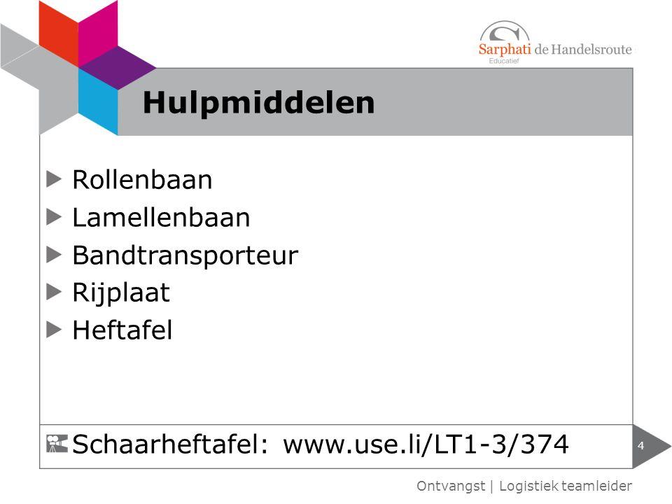 Rollenbaan Lamellenbaan Bandtransporteur Rijplaat Heftafel 4 Ontvangst | Logistiek teamleider Hulpmiddelen Schaarheftafel: www.use.li/LT1-3/374