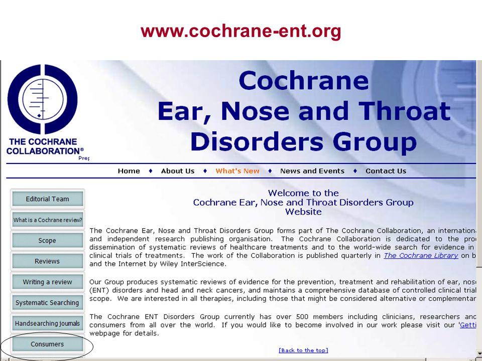 17 www.cochrane-ent.org