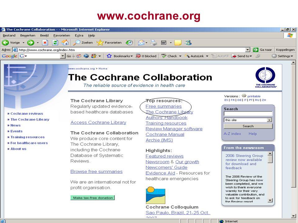 19 www.cochrane.org