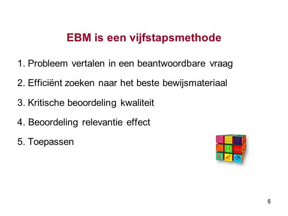 6 EBM is een vijfstapsmethode 1.Probleem vertalen in een beantwoordbare vraag 2.