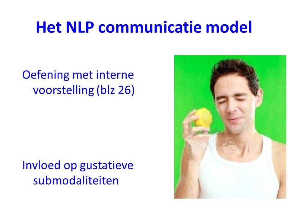 Het NLP communicatie model Invloed op gustatieve submodaliteiten Oefening met interne voorstelling (blz 26)