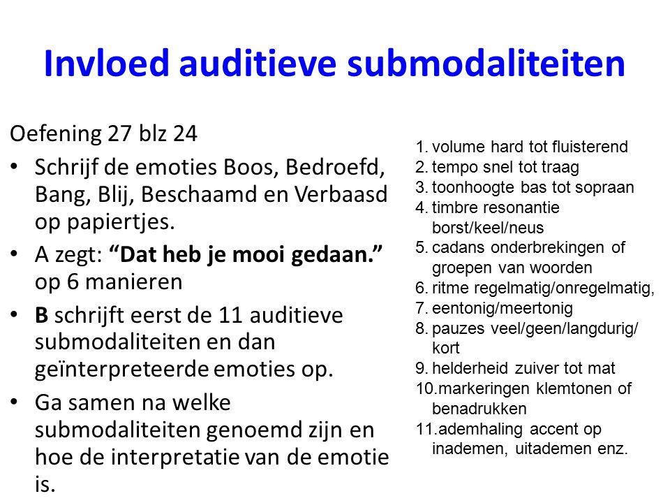 """Invloed auditieve submodaliteiten Oefening 27 blz 24 Schrijf de emoties Boos, Bedroefd, Bang, Blij, Beschaamd en Verbaasd op papiertjes. A zegt: """"Dat"""