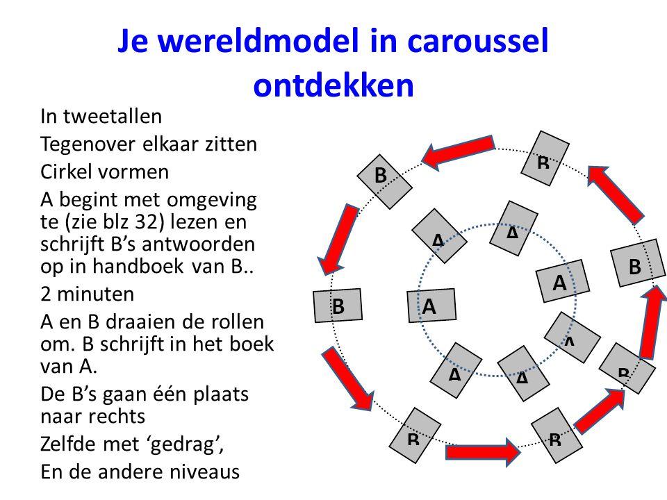 Je wereldmodel in caroussel ontdekken In tweetallen Tegenover elkaar zitten Cirkel vormen A begint met omgeving te (zie blz 32) lezen en schrijft B's