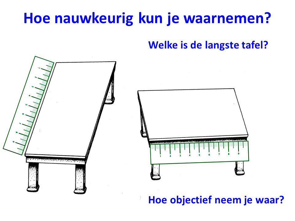 Hoe nauwkeurig kun je waarnemen? Welke is de langste tafel? Hoe objectief neem je waar?