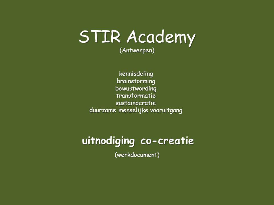 STIR Academy (Antwerpen) kennisdelingbrainstormingbewustwordingtransformatiesustainocratie duurzame menselijke vooruitgang (werkdocument) uitnodiging co-creatie