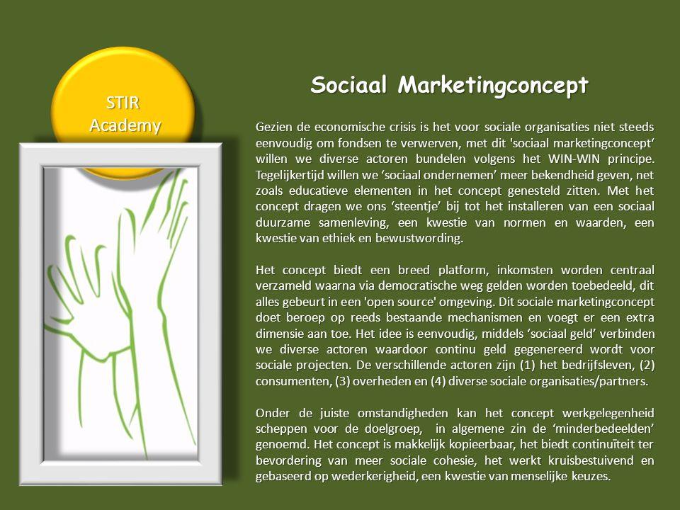 STIR Academy AcademySTIR Sociaal Marketingconcept Gezien de economische crisis is het voor sociale organisaties niet steeds eenvoudig om fondsen te verwerven, met dit sociaal marketingconcept' willen we diverse actoren bundelen volgens het WIN-WIN principe.