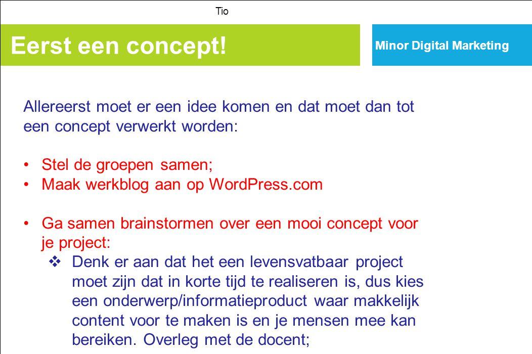 Minor Digital Marketing Eerst een concept! Tio Allereerst moet er een idee komen en dat moet dan tot een concept verwerkt worden: Stel de groepen same