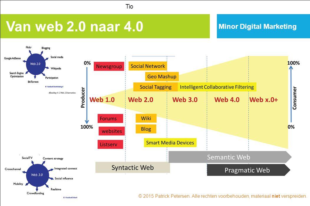 Minor Digital Marketing Van web 2.0 naar 4.0 Tio © 2015 Patrick Petersen. Alle rechten voorbehouden, materiaal niet verspreiden.