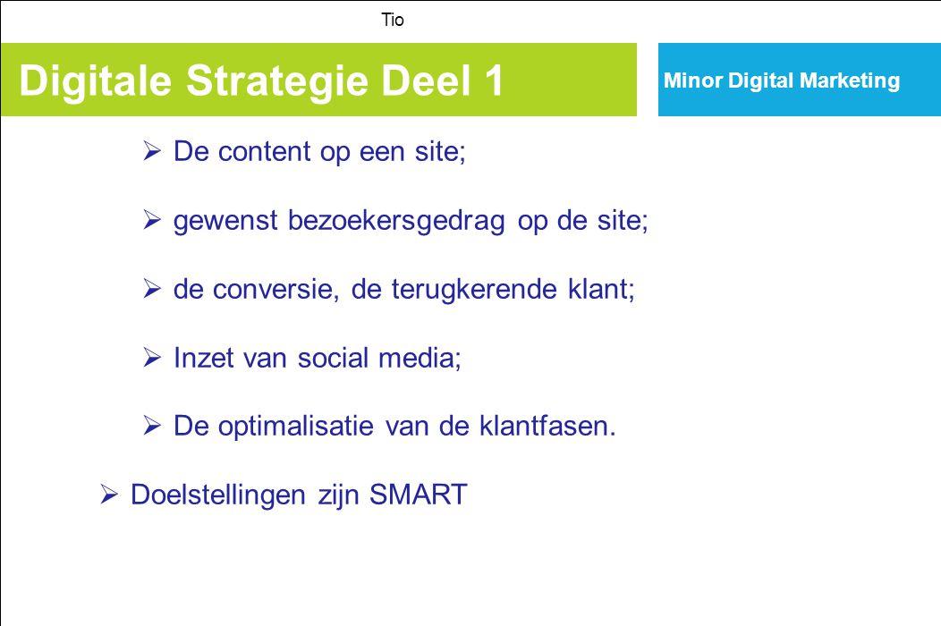 Minor Digital Marketing Digitale Strategie Deel 1 Tio  De content op een site;  gewenst bezoekersgedrag op de site;  de conversie, de terugkerende klant;  Inzet van social media;  De optimalisatie van de klantfasen.