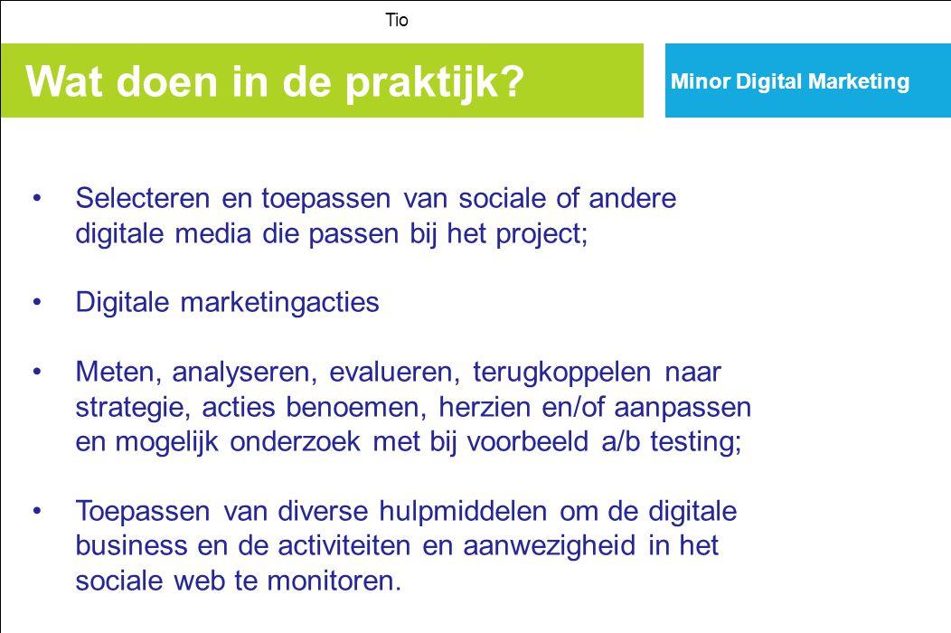 Minor Digital Marketing Wat doen in de praktijk? Tio Selecteren en toepassen van sociale of andere digitale media die passen bij het project; Digitale