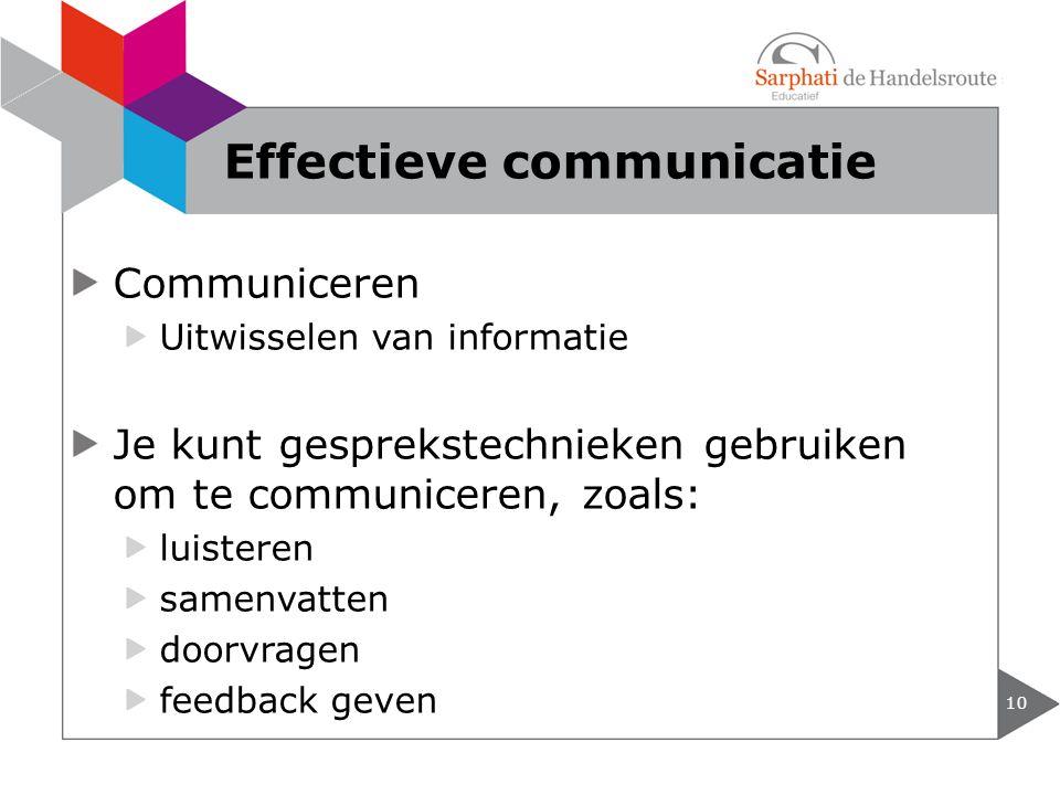 Communiceren Uitwisselen van informatie Je kunt gesprekstechnieken gebruiken om te communiceren, zoals: luisteren samenvatten doorvragen feedback geven 10 Effectieve communicatie