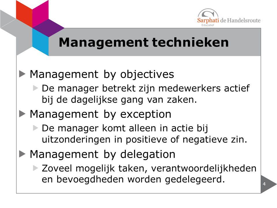 Management by objectives De manager betrekt zijn medewerkers actief bij de dagelijkse gang van zaken.