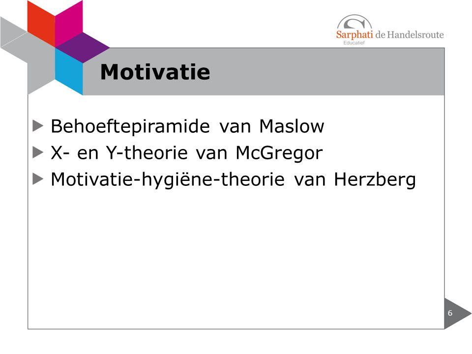 Behoeftepiramide van Maslow X- en Y-theorie van McGregor Motivatie-hygiëne-theorie van Herzberg 6 Motivatie