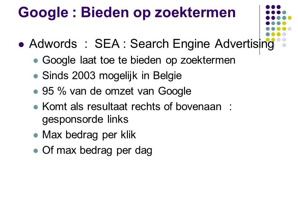 Google : Bieden op zoektermen Adwords : SEA : Search Engine Advertising Google laat toe te bieden op zoektermen Sinds 2003 mogelijk in Belgie 95 % van