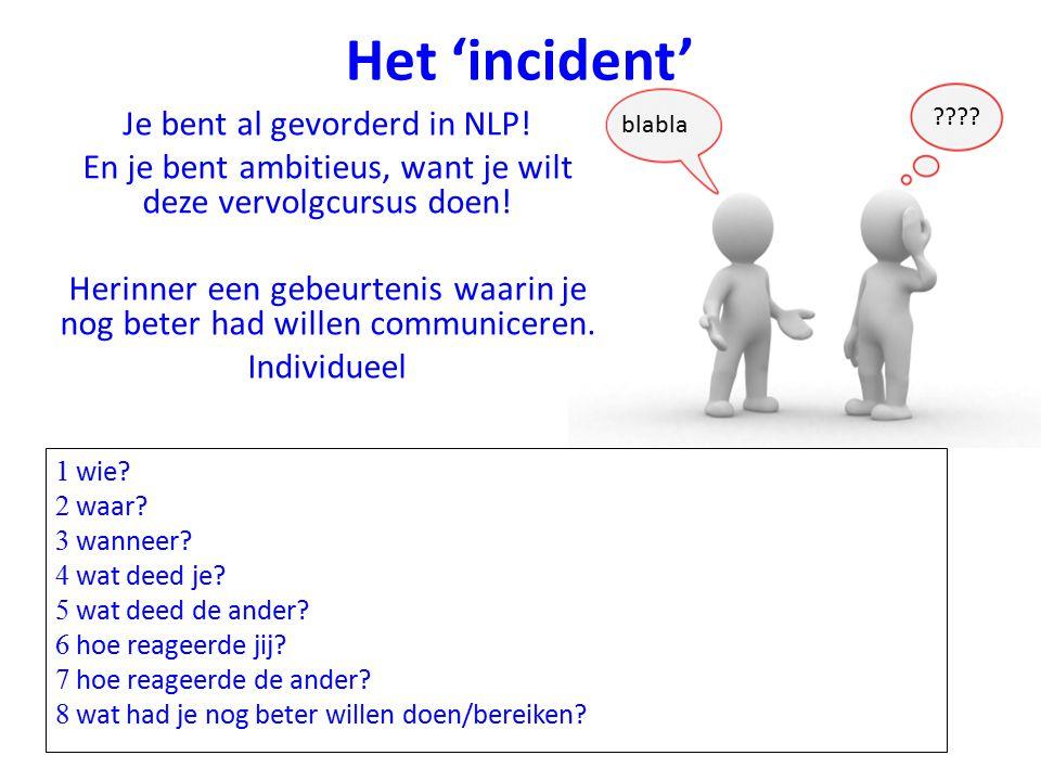 Het 'incident' Je bent al gevorderd in NLP.