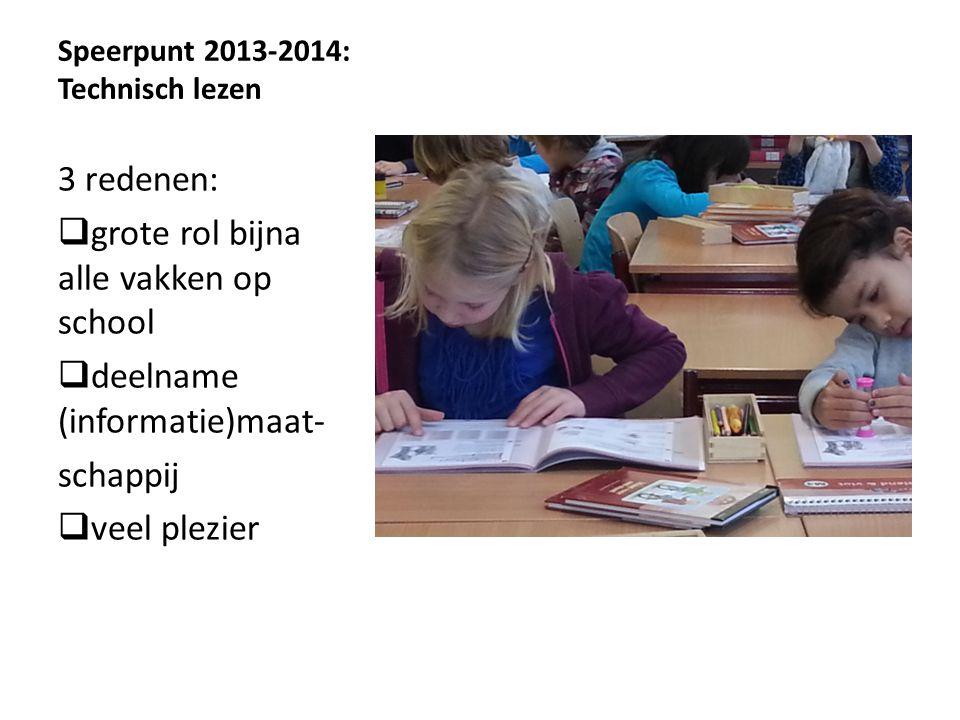 Speerpunt 2013-2014: Technisch lezen 3 redenen:  grote rol bijna alle vakken op school  deelname (informatie)maat- schappij  veel plezier