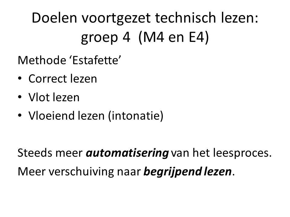 Doelen voortgezet technisch lezen: groep 4 (M4 en E4) Methode 'Estafette' Correct lezen Vlot lezen Vloeiend lezen (intonatie) Steeds meer automatiseri