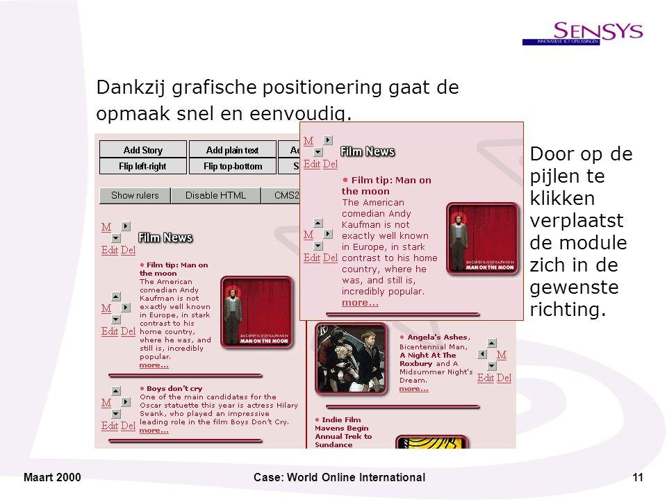 Maart 2000Case: World Online International11 Dankzij grafische positionering gaat de opmaak snel en eenvoudig.
