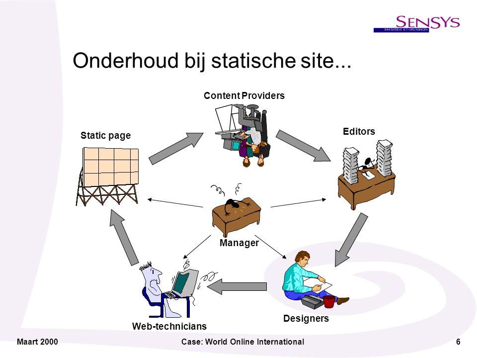 Maart 2000Case: World Online International7 Het alternatief: Dynamisch met CMS (Content Management Systeem) Content Providers Editors Manager Database / Webserver Designers Web-technicians