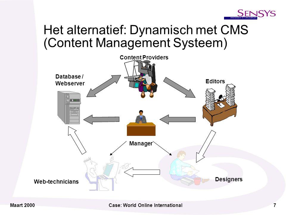 Maart 2000Case: World Online International8 de Innovatieve ICT Oplossing Sensys Content Management Technologie kent een strikte scheiding van content, structuur en look & feel .
