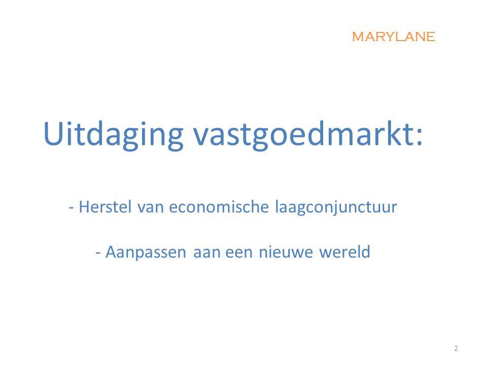 Uitdaging vastgoedmarkt: - Herstel van economische laagconjunctuur - Aanpassen aan een nieuwe wereld 2 MARYLANE