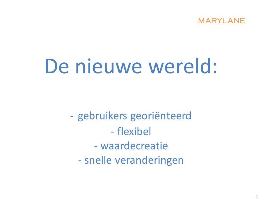 De nieuwe wereld: - gebruikers georiënteerd - flexibel - waardecreatie - snelle veranderingen 4 MARYLANE
