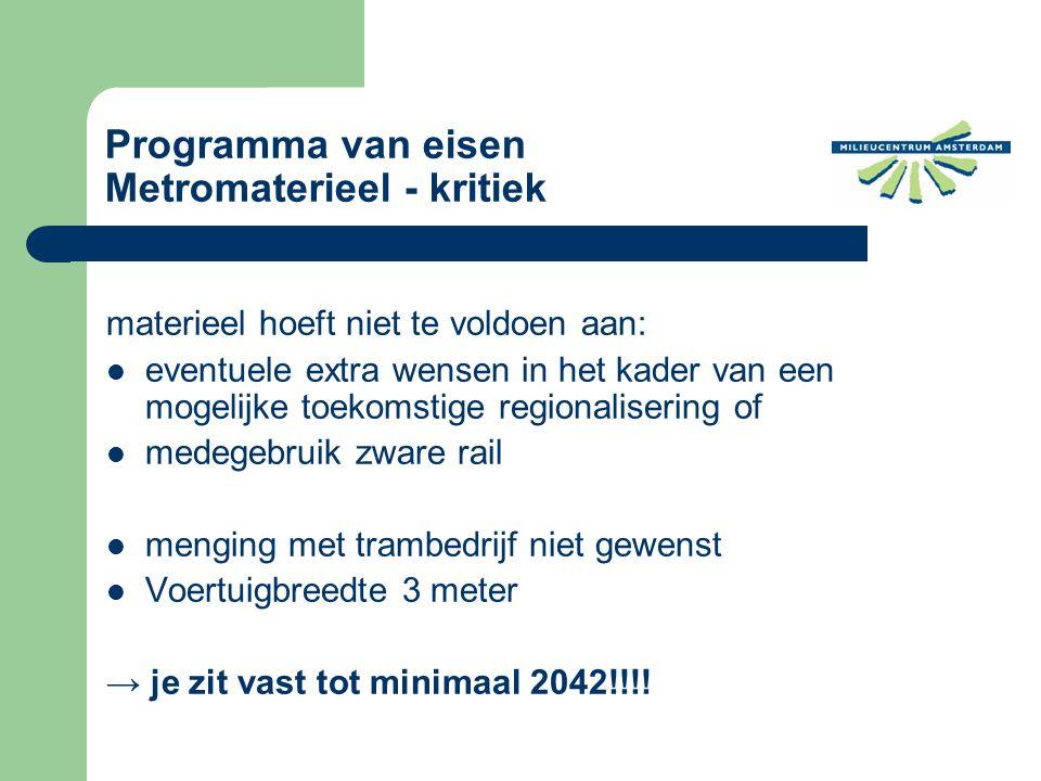 materieel hoeft niet te voldoen aan: eventuele extra wensen in het kader van een mogelijke toekomstige regionalisering of medegebruik zware rail menging met trambedrijf niet gewenst Voertuigbreedte 3 meter → je zit vast tot minimaal 2042!!!.