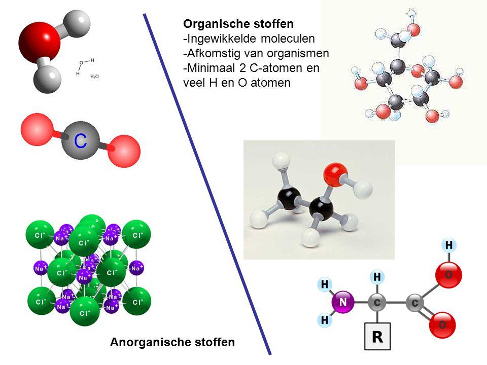 Anorganische stoffen Organische stoffen -Ingewikkelde moleculen -Afkomstig van organismen -Minimaal 2 C-atomen en veel H en O atomen