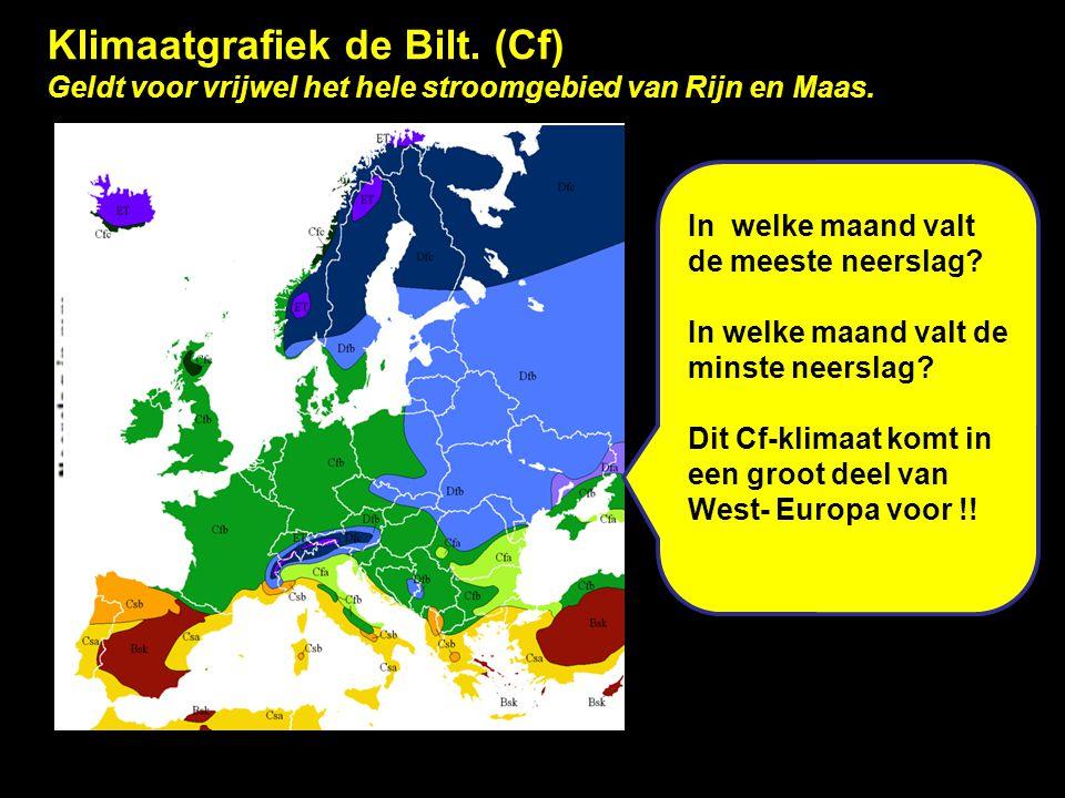 Klimaatgrafiek de Bilt. (Cf) Geldt voor vrijwel het hele stroomgebied van Rijn en Maas. In welke maand valt de meeste neerslag? In welke maand valt de
