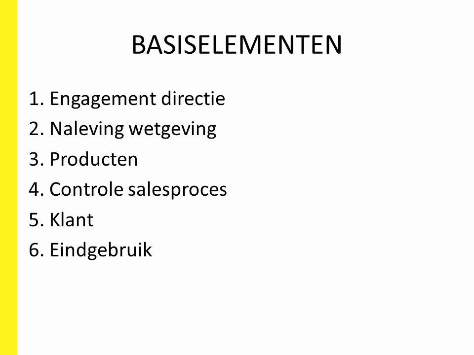 BASISELEMENTEN 1. Engagement directie 2. Naleving wetgeving 3. Producten 4. Controle salesproces 5. Klant 6. Eindgebruik