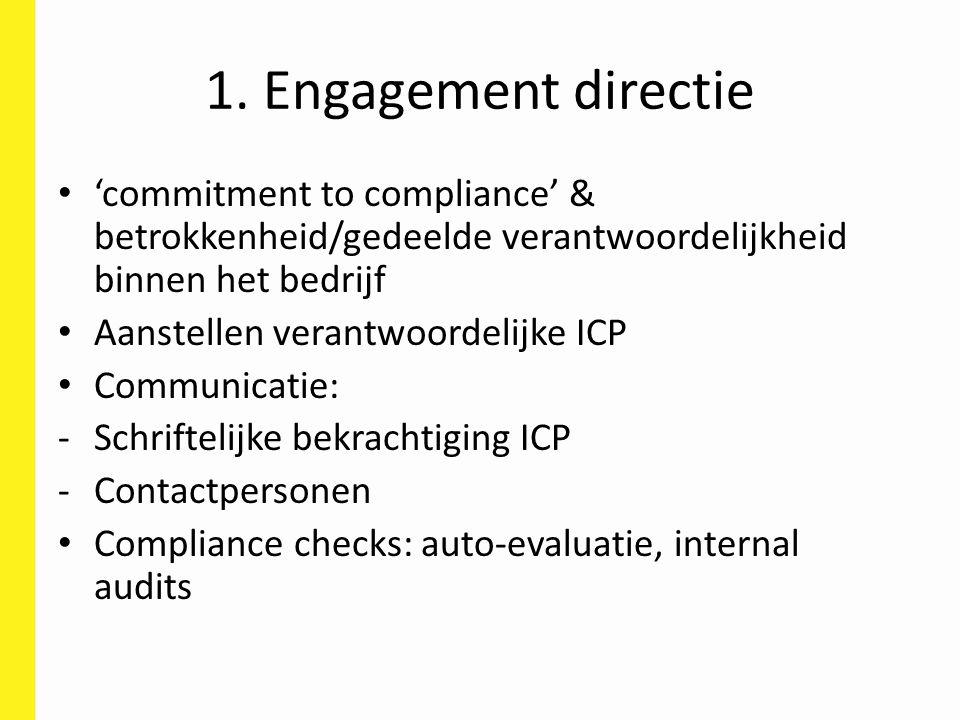 1. Engagement directie 'commitment to compliance' & betrokkenheid/gedeelde verantwoordelijkheid binnen het bedrijf Aanstellen verantwoordelijke ICP Co