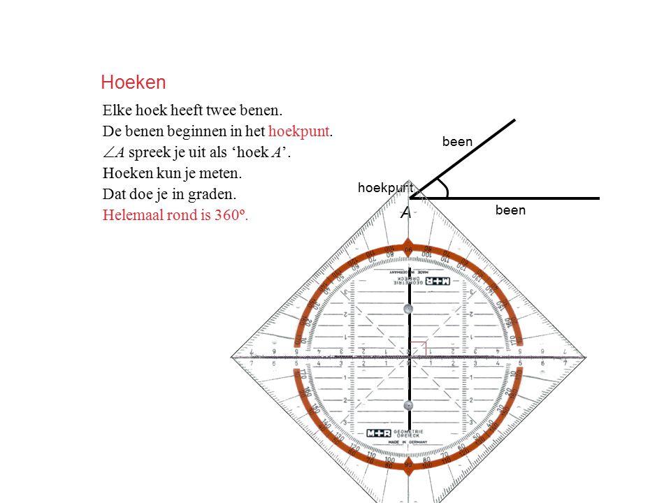 Hoeken Elke hoek heeft twee benen. De benen beginnen in het hoekpunt.  A spreek je uit als 'hoek A'. Hoeken kun je meten. Dat doe je in graden. Helem