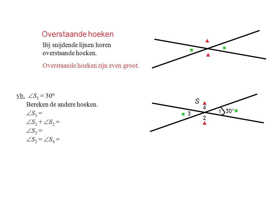 Overstaande hoeken Bij snijdende lijnen horen overstaande hoeken. Overstaande hoeken zijn even groot. ▪ ▪ ▲ ▲ vb.  S 1 = 30º Bereken de andere hoeken