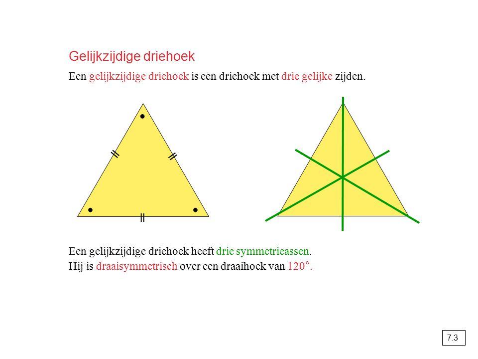 Gelijkzijdige driehoek Een gelijkzijdige driehoek is een driehoek met drie gelijke zijden. ∙∙ ∙ ll Een gelijkzijdige driehoek heeft drie symmetrieasse