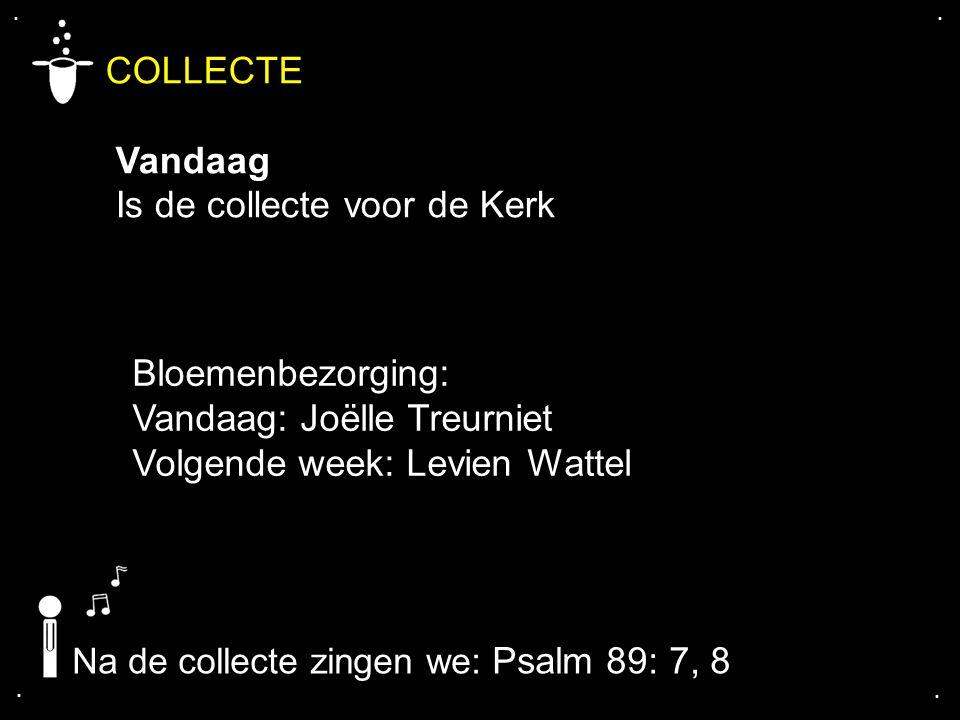.... COLLECTE Vandaag Is de collecte voor de Kerk Na de collecte zingen we: Psalm 89: 7, 8 Bloemenbezorging: Vandaag: Joëlle Treurniet Volgende week: