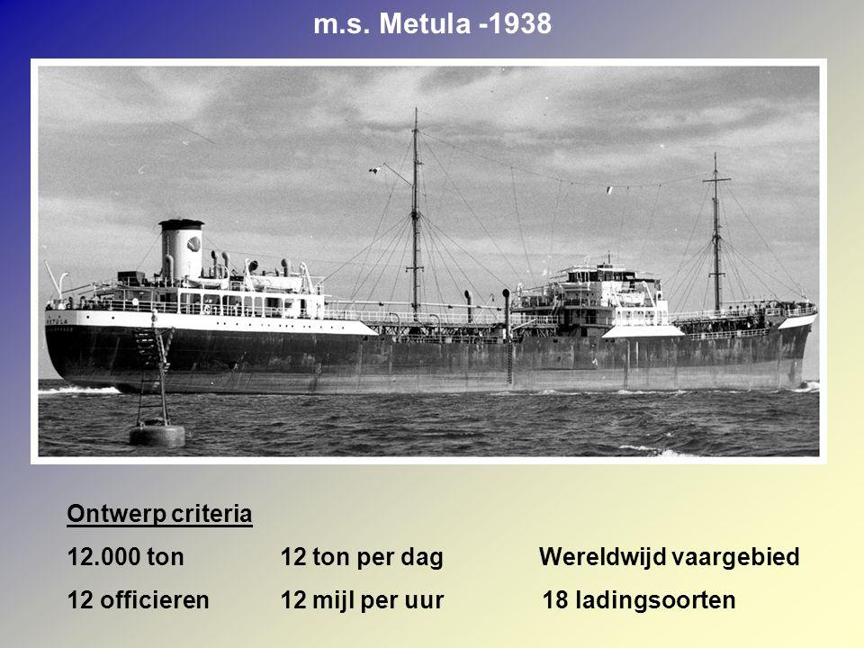 m.s. Metula -1938 Ontwerp criteria 12.000 ton 12 ton per dag Wereldwijd vaargebied 12 officieren 12 mijl per uur 18 ladingsoorten