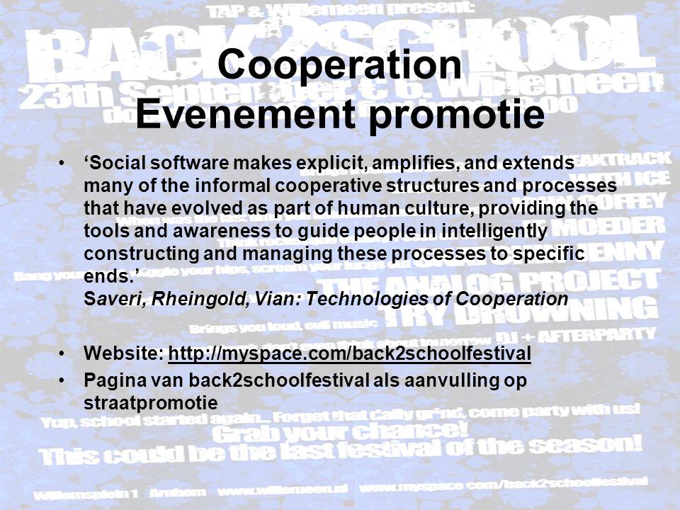 Cooperation Evenement promotie  Grootste voordeel Promotie is niet alleen voor het festival, maar ook voor de bands zelf d.m.v.